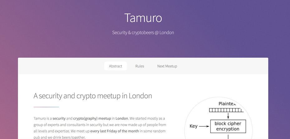 tamuro meetup crypto security london